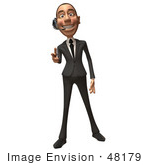 #48179 Royalty-Free (Rf) Illustration Of A 3d White Collar Businessman Mascot Wearing A Headset And Pointing His Fingers Like A Gun - Version 2