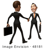 #48181 Royalty-Free (Rf) Illustration Of A 3d White Collar Businessman Mascot Shaking Hands With A Colleague - Version 2