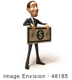 #48185 Royalty-Free (Rf) Illustration Of A 3d White Collar Businessman Mascot Holding An Oversized Banknote - Version 2