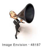 #48187 Royalty-Free (Rf) Illustration Of A 3d White Collar Businessman Mascot Using A Megaphone - Version 4