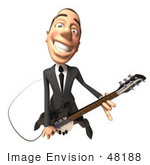 #48188 Royalty-Free (Rf) Illustration Of A 3d White Collar Businessman Mascot Playing An Electric Guitar - Version 4