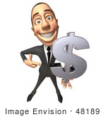 #48189 Royalty-Free (Rf) Illustration Of A 3d White Collar Businessman Mascot Holding A Dollar Symbol - Version 1