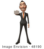 #48190 Royalty-Free (Rf) Illustration Of A 3d White Collar Businessman Mascot Holding Out A Business Card - Version 1