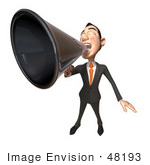 #48193 Royalty-Free (Rf) Illustration Of A 3d White Collar Businessman Mascot Using A Megaphone - Version 4