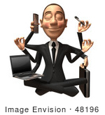 #48196 Royalty-Free (Rf) Illustration Of A 3d White Collar Businessman Mascot Multi Tasking - Version 1