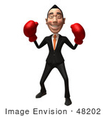 #48202 Royalty-Free (Rf) Illustration Of A 3d White Collar Businessman Mascot Boxing - Version 2