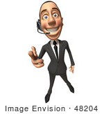 #48204 Royalty-Free (Rf) Illustration Of A 3d White Collar Businessman Mascot Wearing A Headset And Pointing His Fingers Like A Gun - Version 1