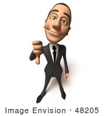 #48205 Royalty-Free (Rf) Illustration Of A 3d White Collar Businessman Mascot Giving The Thumbs Down