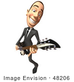 #48206 Royalty-Free (Rf) Illustration Of A 3d White Collar Businessman Mascot Playing An Electric Guitar - Version 3