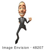 #48207 Royalty-Free (Rf) Illustration Of A 3d White Collar Businessman Mascot Running - Version 3