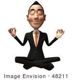 #48211 Royalty-Free (Rf) Illustration Of A 3d White Collar Businessman Mascot Meditating - Version 2
