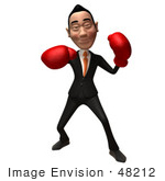 #48212 Royalty-Free (Rf) Illustration Of A 3d White Collar Businessman Mascot Boxing - Version 3