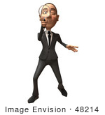#48214 Royalty-Free (Rf) Illustration Of A 3d White Collar Businessman Mascot Using A Magnifying Glass - Version 1
