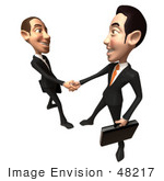 #48217 Royalty-Free (Rf) Illustration Of A 3d White Collar Businessman Mascot Shaking Hands With A Colleague - Version 3