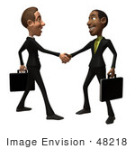 #48218 Royalty-Free (Rf) Illustration Of 3d White And Black Businessmen Shaking Hands - Version 1