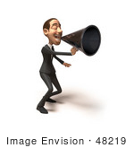 #48219 Royalty-Free (Rf) Illustration Of A 3d White Collar Businessman Mascot Using A Megaphone - Version 2