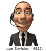 #48221 Royalty-Free (Rf) Illustration Of A 3d White Collar Businessman Mascot Wearing A Headset - Version 1