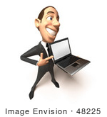 #48225 Royalty-Free (Rf) Illustration Of A 3d White Collar Businessman Mascot Holding A Laptop - Version 4