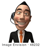 #48232 Royalty-Free (Rf) Illustration Of A 3d White Collar Businessman Mascot Wearing A Headset - Version 2