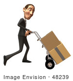 #48239 Royalty-Free (Rf) Illustration Of A 3d White Collar Businessman Mascot Moving Boxes On A Dolly - Version 3