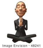 #48241 Royalty-Free (Rf) Illustration Of A 3d White Collar Businessman Mascot Meditating - Version 2