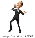 #48243 Royalty-Free (Rf) Illustration Of A 3d White Collar Businessman Mascot Holding A Cell Phone - Version 6