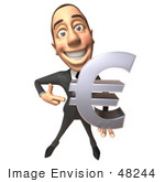 #48244 Royalty-Free (Rf) Illustration Of A 3d White Collar Businessman Mascot Holding A Euro Symbol - Version 2