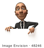 #48246 Royalty-Free (Rf) Illustration Of A 3d White Collar Businessman Mascot Pointing Down And Standing Behind A Blank Sign - Version 1