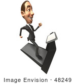#48249 Royalty-Free (Rf) Illustration Of A 3d White Collar Businessman Mascot Running On A Treadmill - Version 5