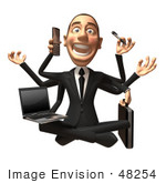 #48254 Royalty-Free (Rf) Illustration Of A 3d White Collar Businessman Mascot Multi Tasking - Version 2