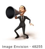 #48255 Royalty-Free (Rf) Illustration Of A 3d White Collar Businessman Mascot Using A Megaphone - Version 3