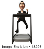 #48256 Royalty-Free (Rf) Illustration Of A 3d White Collar Businessman Mascot Running On A Treadmill - Version 1