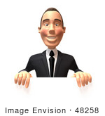 #48258 Royalty-Free (Rf) Illustration Of A 3d White Collar Businessman Mascot Standing Behind A Blank Sign