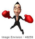 #48259 Royalty-Free (Rf) Illustration Of A 3d White Collar Businessman Mascot Boxing - Version 5