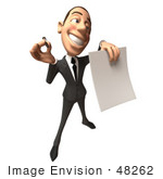 #48262 Royalty-Free (Rf) Illustration Of A 3d White Collar Businessman Mascot Holding A Contract - Version 5