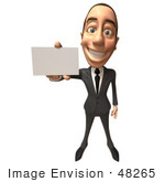 #48265 Royalty-Free (Rf) Illustration Of A 3d White Collar Businessman Mascot Holding A Blank Business Card - Version 2