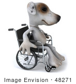 #48271 Royalty-Free (Rf) Illustration Of A 3d Jack Russell Terrier Dog Mascot In A Wheel Chair