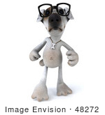 #48272 Royalty-Free (Rf) Illustration Of A 3d Jack Russell Terrier Dog Mascot Wearing Glasses And Walking Forward