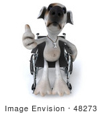 #48273 Royalty-Free (Rf) Illustration Of A 3d Jack Russell Terrier Dog Mascot Giving The Thumbs Up And Sitting In A Wheel Chair