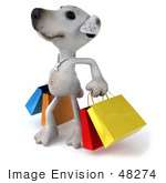 #48274 Royalty-Free (Rf) Illustration Of A 3d Jack Russell Terrier Dog Mascot Looking Up And Carrying Shopping Bags