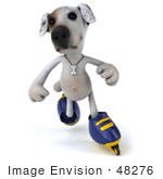 #48276 Royalty-Free (Rf) Illustration Of A 3d Jack Russell Terrier Dog Mascot Roller Blading - Pose 3