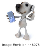 #48278 Royalty-Free (Rf) Illustration Of A 3d Jack Russell Terrier Dog Mascot Holding Out A Cell Phone