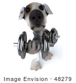 #48279 Royalty-Free (Rf) Illustration Of A 3d Jack Russell Terrier Dog Mascot Weghtlifting With Dumbbells - Version 1