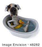 #48282 Royalty-Free (Rf) Illustration Of A 3d Jack Russell Terrier Dog Mascot Bathing - Pose 2