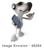 #48284 Royalty-Free (Rf) Illustration Of A 3d Jack Russell Terrier Dog Mascot Holding A Cell Phone