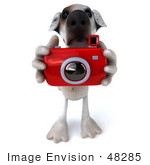 #48285 Royalty-Free (Rf) Illustration Of A 3d Jack Russell Terrier Dog Mascot Taking Pictures