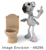 #48286 Royalty-Free (Rf) Illustration Of A 3d Jack Russell Terrier Dog Mascot Standing Beside A Tan Toilet - Version 2