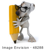 #48288 Royalty-Free (Rf) Illustration Of A 3d Jack Russell Terrier Dog Mascot With A Pencil - Pose 2