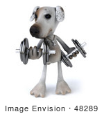 #48289 Royalty-Free (Rf) Illustration Of A 3d Jack Russell Terrier Dog Mascot Lifting Weights