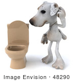 #48290 Royalty-Free (Rf) Illustration Of A 3d Jack Russell Terrier Dog Mascot Standing Beside A Tan Toilet - Version 1